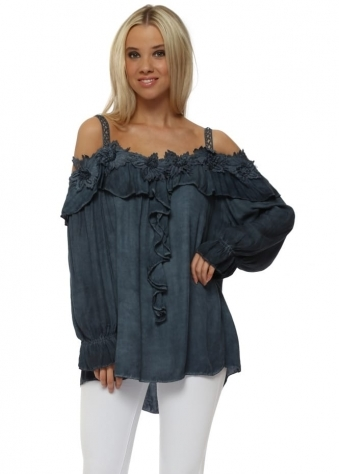 Navy Blue Cold Shoulder Ruffle Top