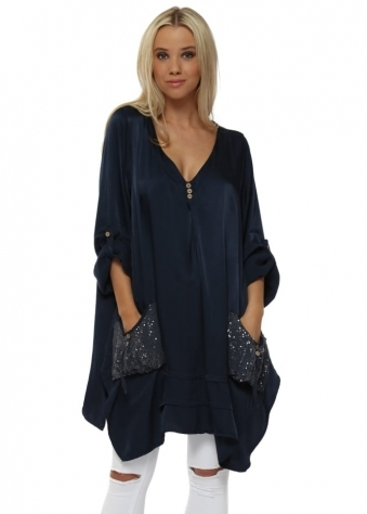 Navy Blue Satin Sequinned Pockets Tunic Top