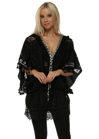 Black Crochet Lace Tassel Embellished Kaftan Top