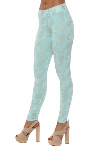 Patty Gold Foil Paisley Leggings In Paradise Blue