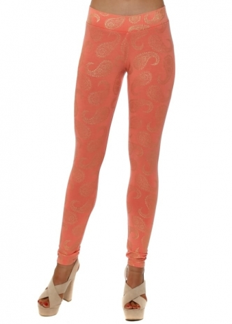 Patty Gold Foil Paisley Leggings In Melon