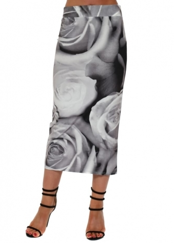 Pearle Photo Rose Midi Skirt In Vanilla