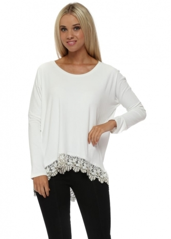 Racey Gold Lace Hem Top In Vanilla