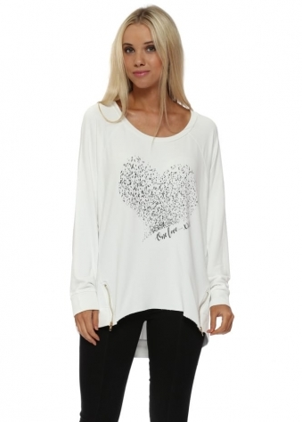 Starling Heart One Love Zip Sweater In Vanilla