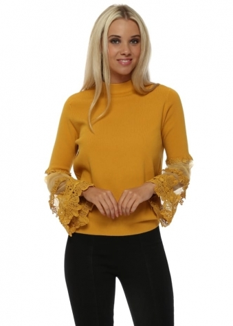 Mustard Tulle Lace Tiered Sleeve Classic Jumper