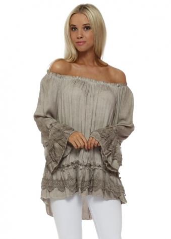 Taupe Silver Floral Lace Bardot Swing Top