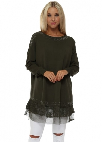 Green Diamonte & Lace Frill Oversized Jumper