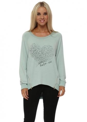 Starling Heart One Love Zip Sweater In Silt