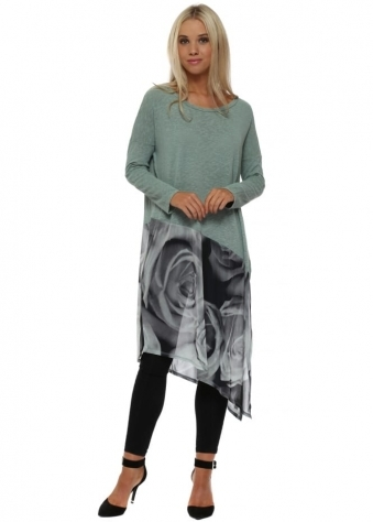 Portia Photo Rose Slub Knit Asymmetric Top In Silt