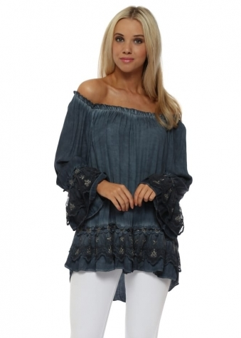 Navy Blue Silver Floral Lace Bardot Swing Top