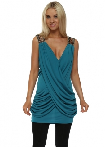 Turquoise Draped Top With Sequin Embellished Shoulder