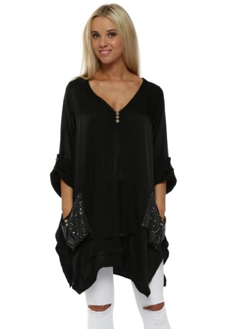 Black Satin Sequinned Pockets Tunic Top