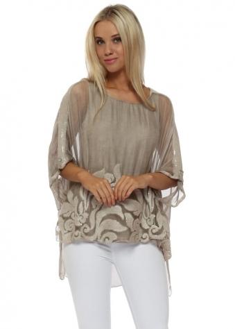 Beige Sequinned Textured Swirl Silk Top