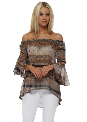Taupe Gypsy Printed Bardot Top