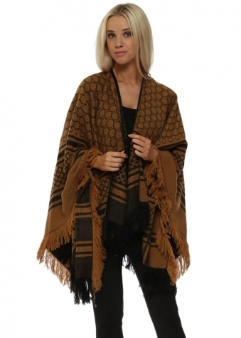 Tan & Black Abstract Print Cashmere Cape