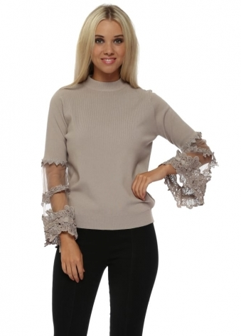 Beige Tulle Lace Tiered Sleeve Classic Jumper