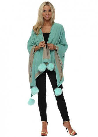 Mint Colour Block Reversible Pom Pom Cashmere Cape