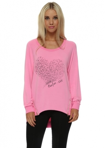 Starling Heart One Love Zip Sweater In Passion