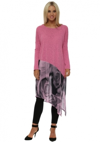 Portia Photo Rose Slub Knit Asymmetric Top In Passion