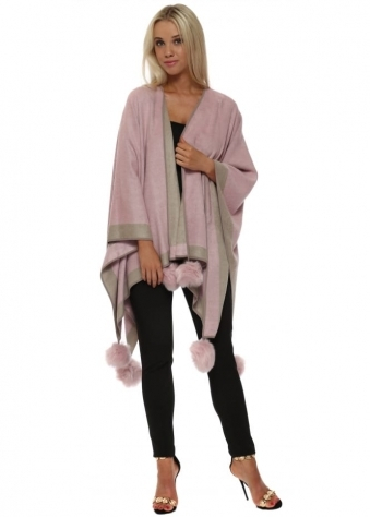 Pink Colour Block Reversible Pom Pom Cashmere Cape