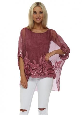 Raspberry Sequinned Textured Swirl Silk Top