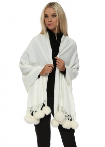 Ivory Cashmere Faux Fur Pom Pom Wrap