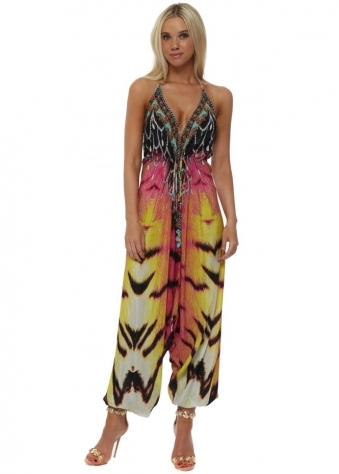 Exotic Safari Jewel Print Halter Neck Jumpsuit
