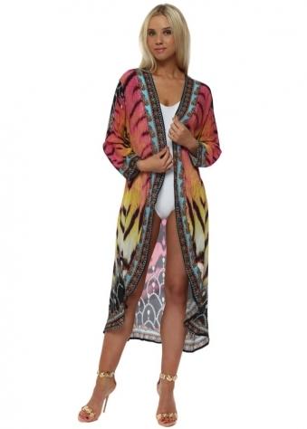 Exotic Safari Jewel Print Crystal Kimono