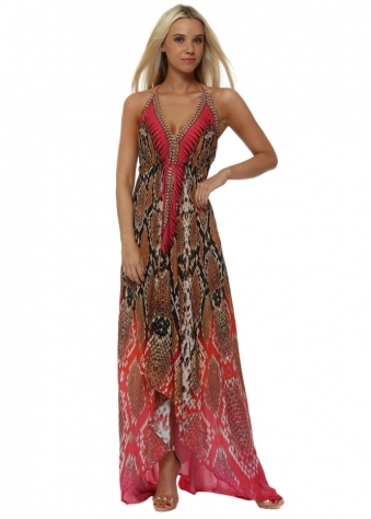Exotic Pink Snake Print Halter Neck Maxi Dress