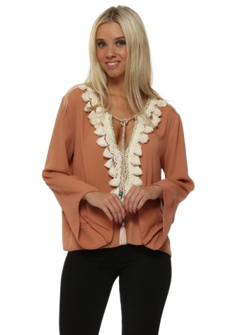 Tan V Neck Top With Crochet & Tassel Embellshment