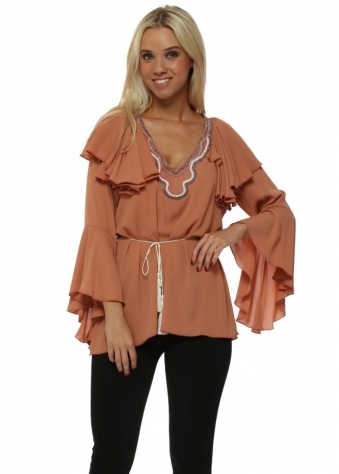 Tan Chiffon Beaded Ruffle Blouse