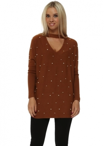 Tan Pearl Embellished Choker Jumper