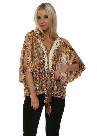 Tan Paisley & Aztec Chiffon Cold Shoulder Tie Top