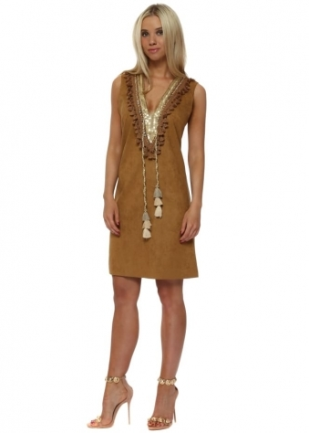Tan Suedette Gold Embellished Shift Dress