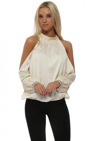 Cream Silk Halterneck Cold Shoulder Beaded Top