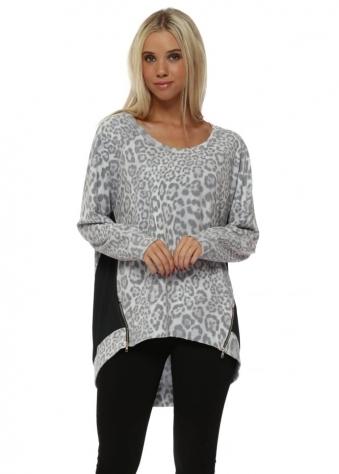 Vanilla Blaire Big Leopard Kat Zip Sweater