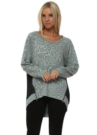 Silt Blaire Big Leopard Kat Zip Sweater