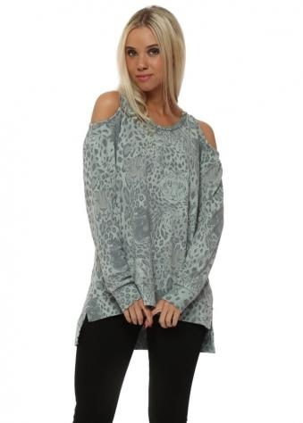 Silt Sara Selfie Leopard Kat Slash Tunic Sweater