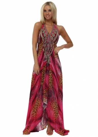 Fucshia Ocelot Jewel Print Crystal Halterneck Maxi Dress