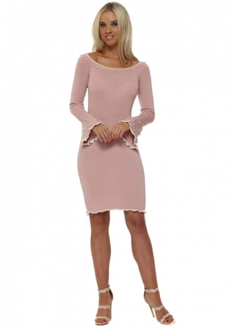 Baby Pink Knitted Dress With Pearl Embellishment