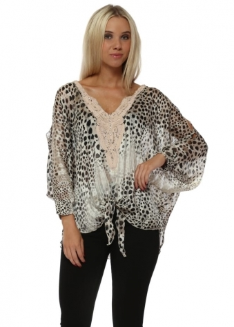 Cheetah Print Chiffon Cold Shoulder Tie Top