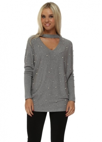 Grey Pearl Embellished Choker Jumper
