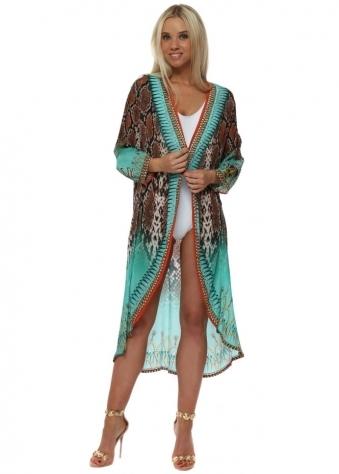 Exotic Jade Snake Print Crystal Kimono