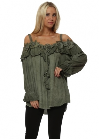 Khaki Cold Shoulder Ruffle Top