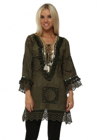 Khaki Crochet Lace Gold Sequin Tunic Top