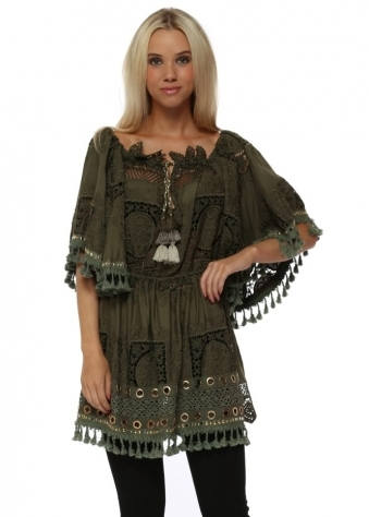 Khaki Crochet Lace Bardot Mini Tunic Top