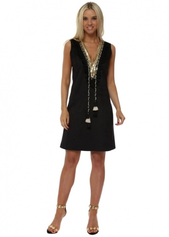 Black Suedette Gold Embellished Shift Dress