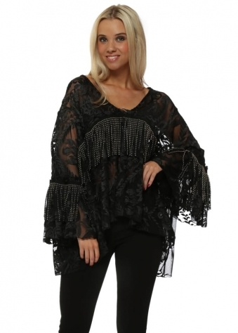 Black Tulle Embroidered Tassle Top