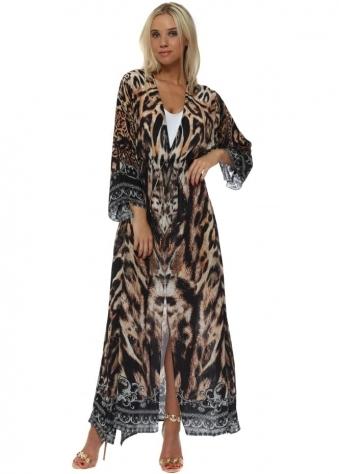 Leopard Print Tie Front Maxi Kimono