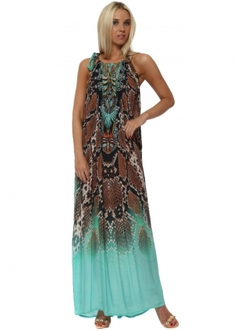Exotic Jade Snake Print Tie Neck Maxi Kaftan Dress